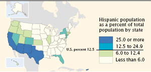 Hispanics in the U.S. in 2000 - Map