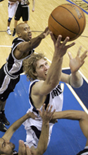 Dallas Mavericks' Dirk Nowitzki in game three of the NBA Western Conference semifinal basketball game, May 13, 2006. Nowitzki scored 27 points in the 104-103 Mavericks win. (AP Photo/Eric Gay)